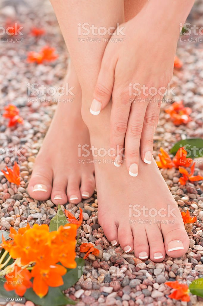 Natural Pedicure Manicure Feet Ankle Pain Relief Massage Nature stock photo