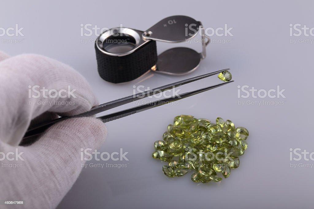 Natural peridot stock photo
