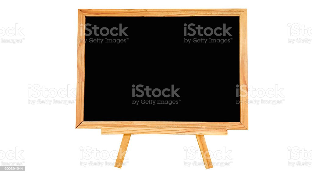 Natural pine wood black board on white background isolated. stock photo