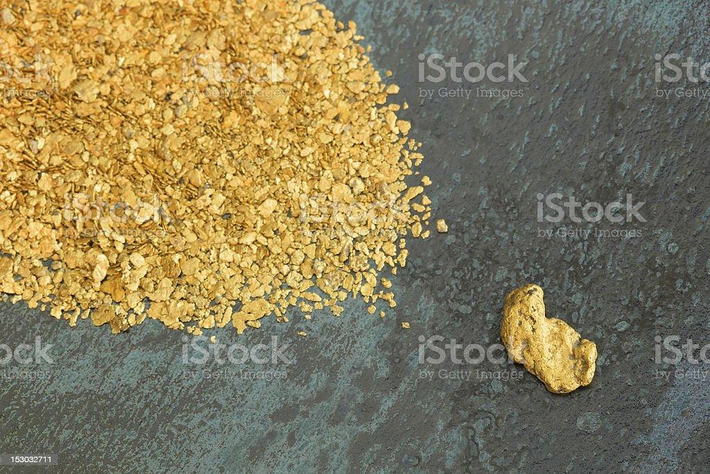 Natürliche Placer Gold-Nuggets Lizenzfreies stock-foto