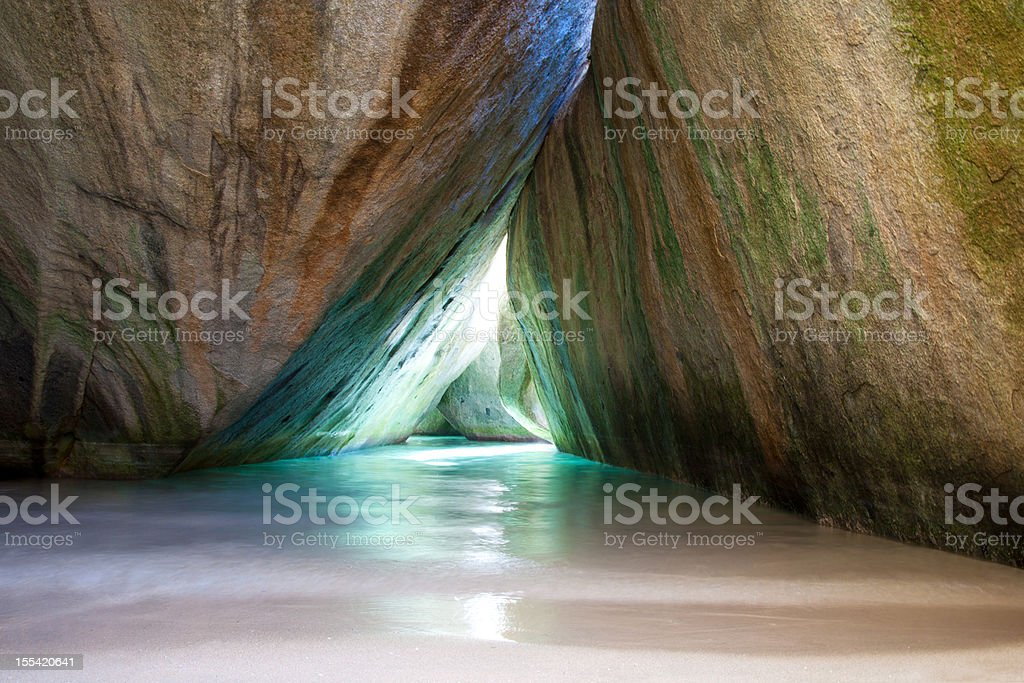 natural pool in a cave at The Baths, Virgin Gorda stock photo