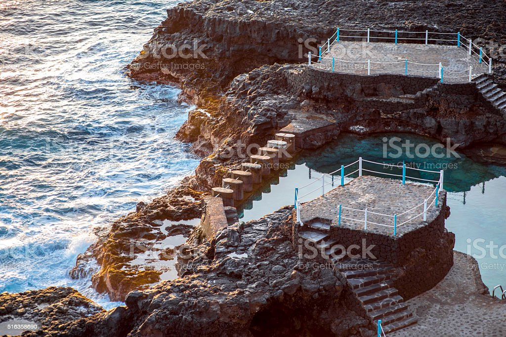 Natural pools in Charco Azul on La Palma stock photo