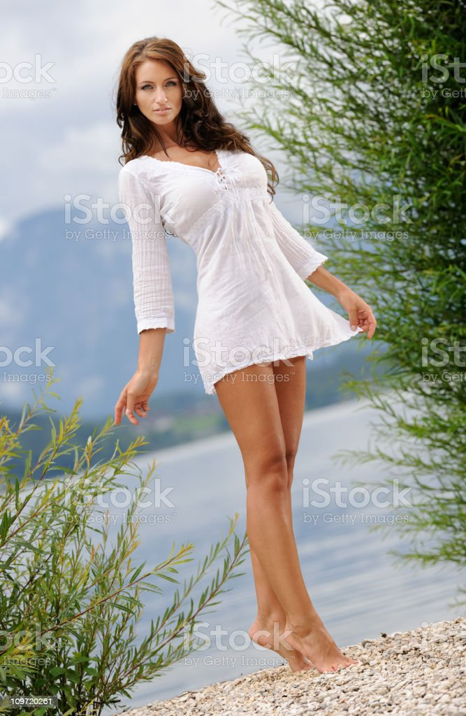 Natural Portrait of a Beautiful Woman with Long Hair (XXXL) royalty-free stock photo