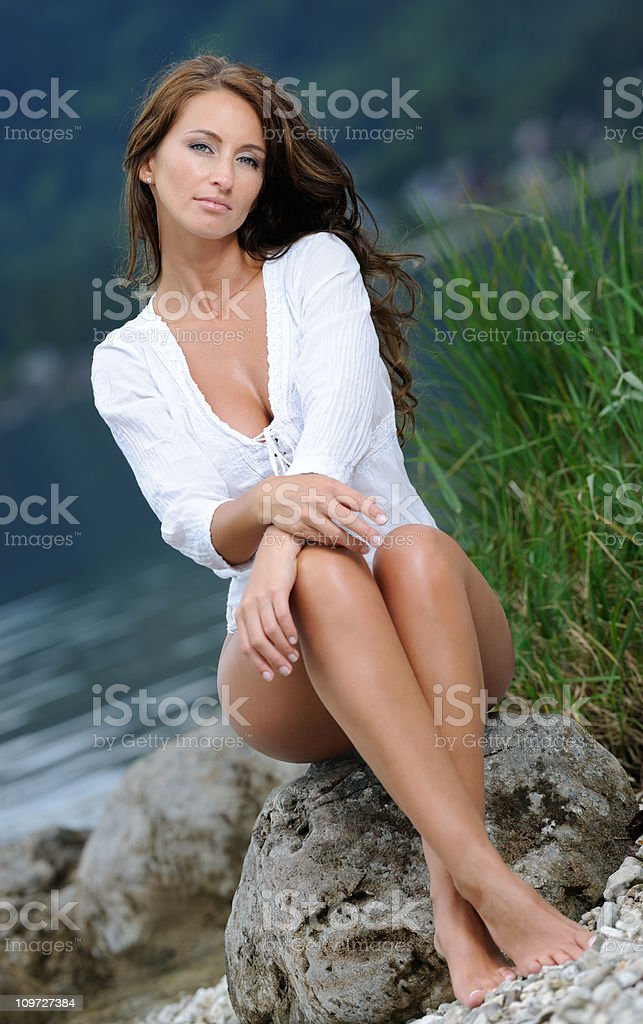 Natural Portrait of a Beautiful Woman with Long Hair royalty-free stock photo
