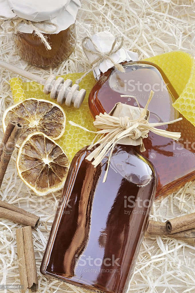 Natural products made of honey - still life stock photo