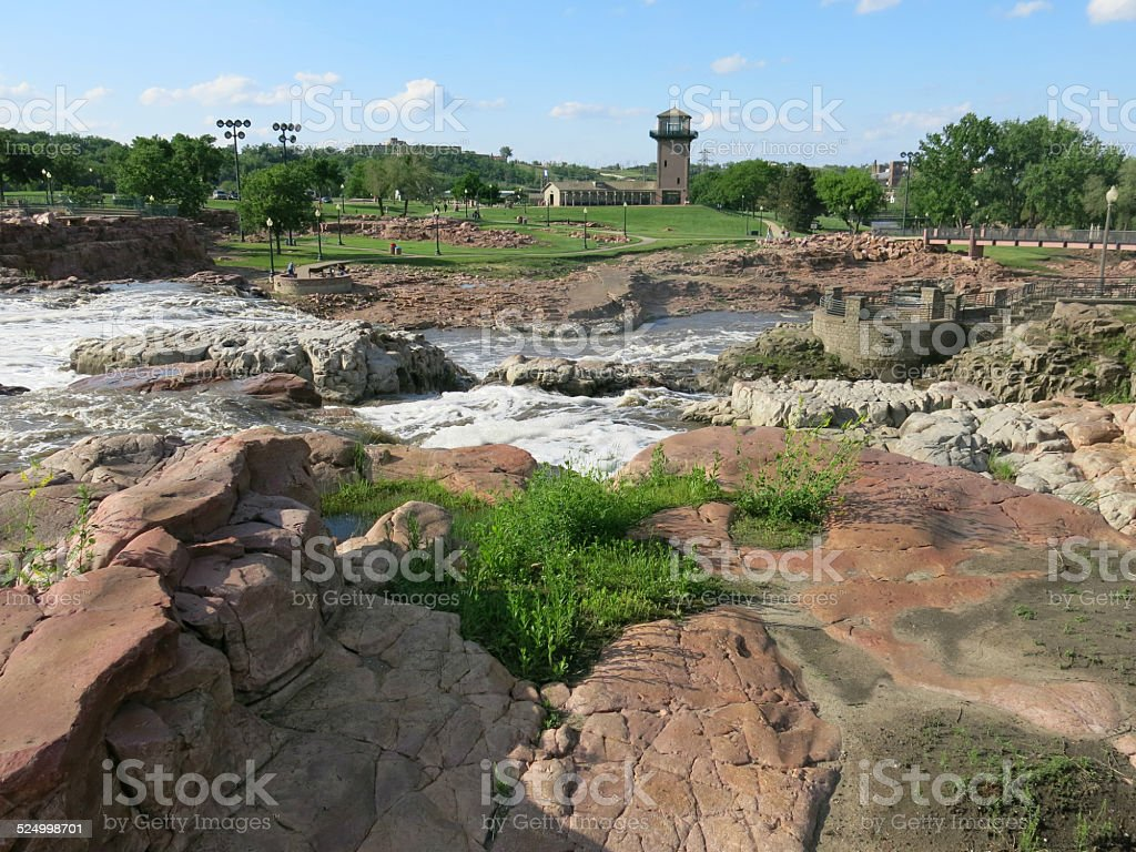 Natural Red Rocks at Sioux Falls Park, South Dakota stock photo