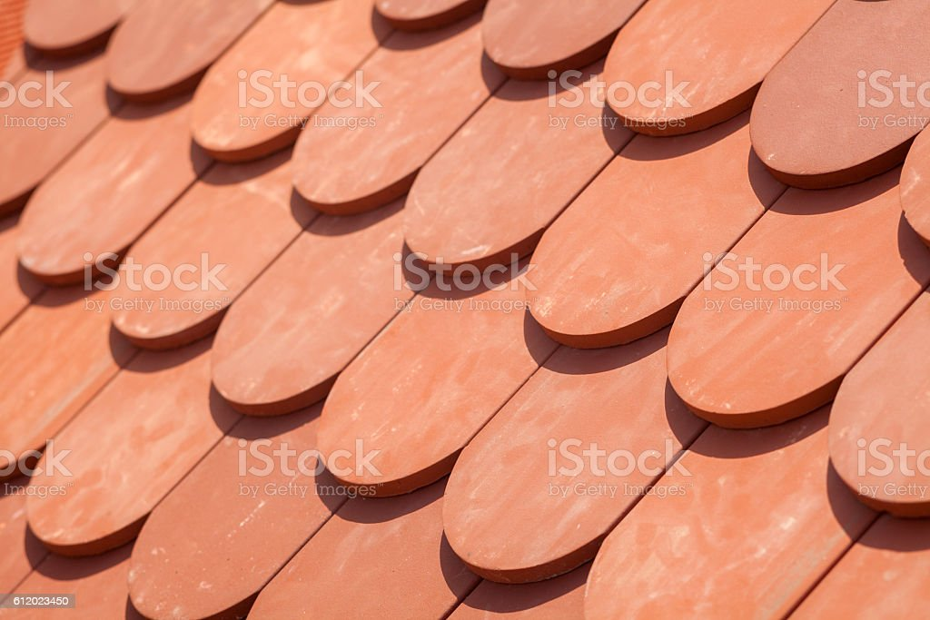 Natural red roof tile pattern stock photo