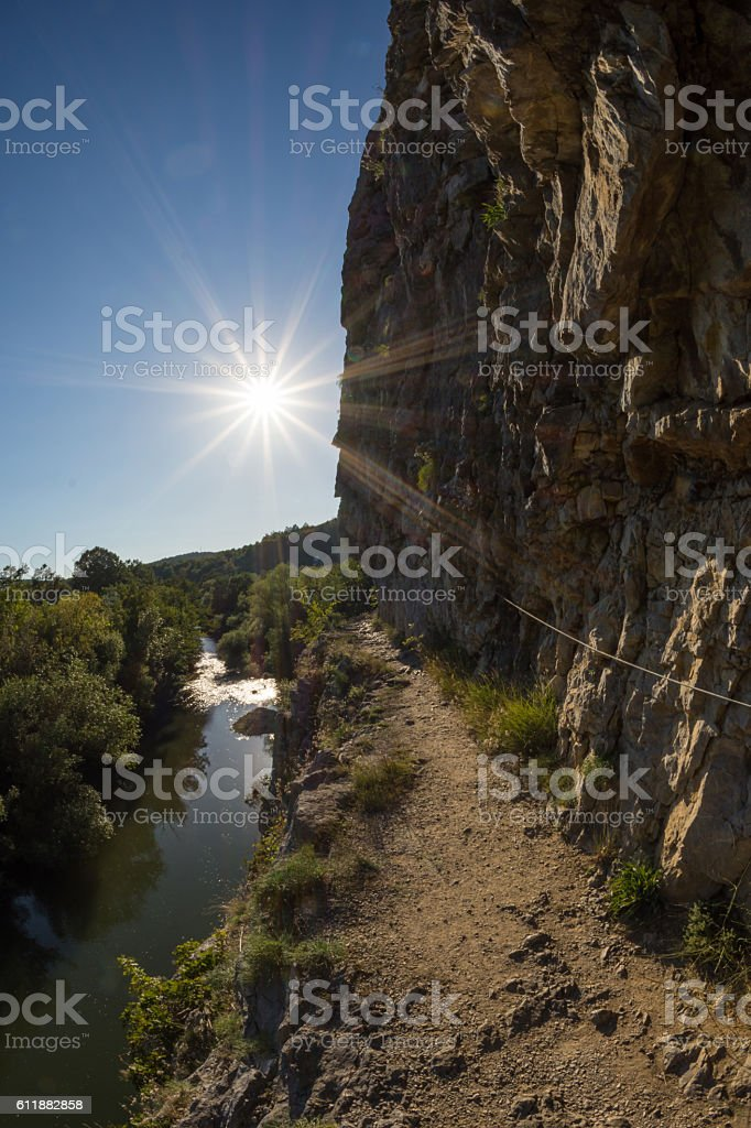 Natural reservation Cheile Nerei, Tunnels section, Romania, Nera river stock photo