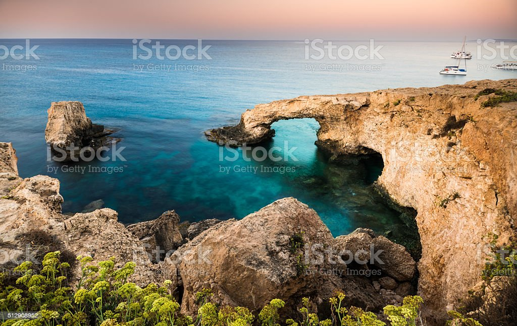 Natural rock arch in Ayia Napa on Cyprus island stock photo