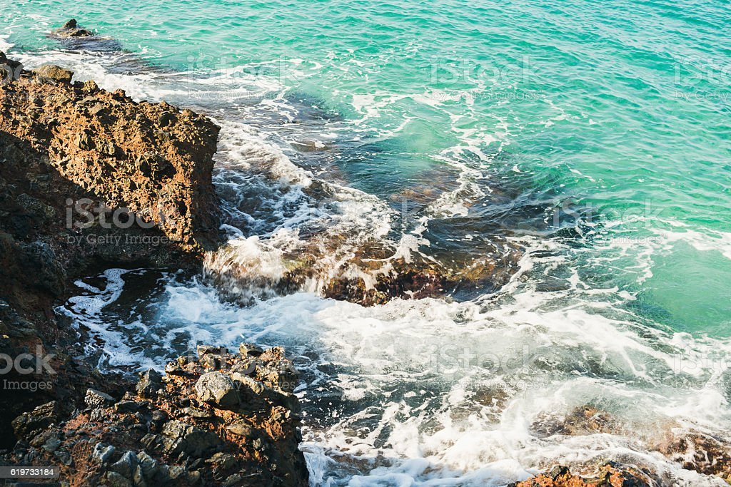 Natural rocks and clear waters at Kleopatra beach, Alanya, Turkey stock photo