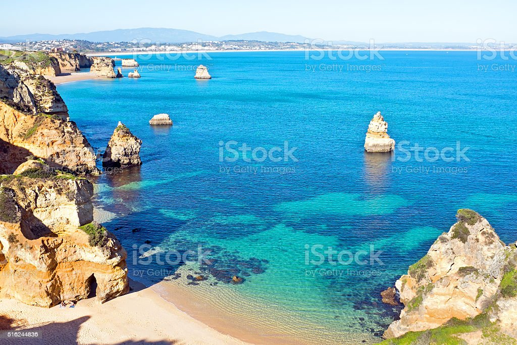 Natural rocks at Praia Do Camillo in Lagos Portugal stock photo