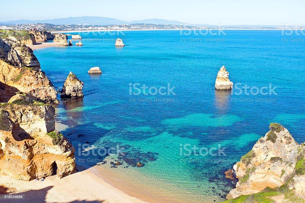 Natural rocks at Praia Do Camillo in Lagos Portugal stock photo