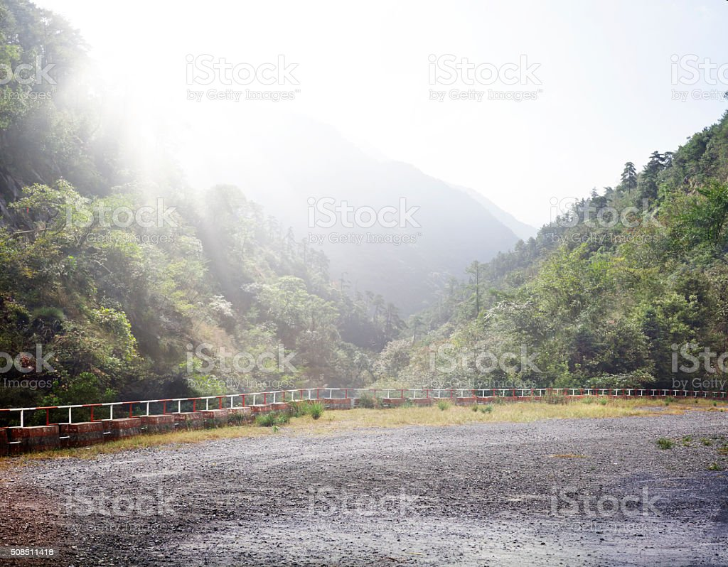 Natural Scenery and Car Park stock photo