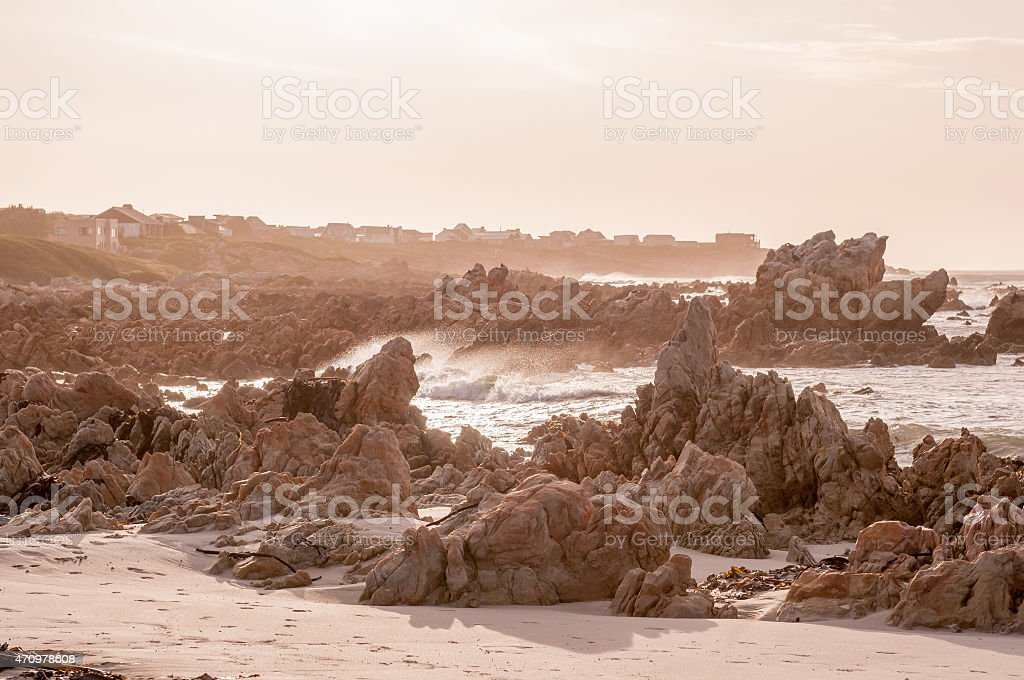 Natural sepia scene of the Indian Ocean at Pringle Bay stock photo