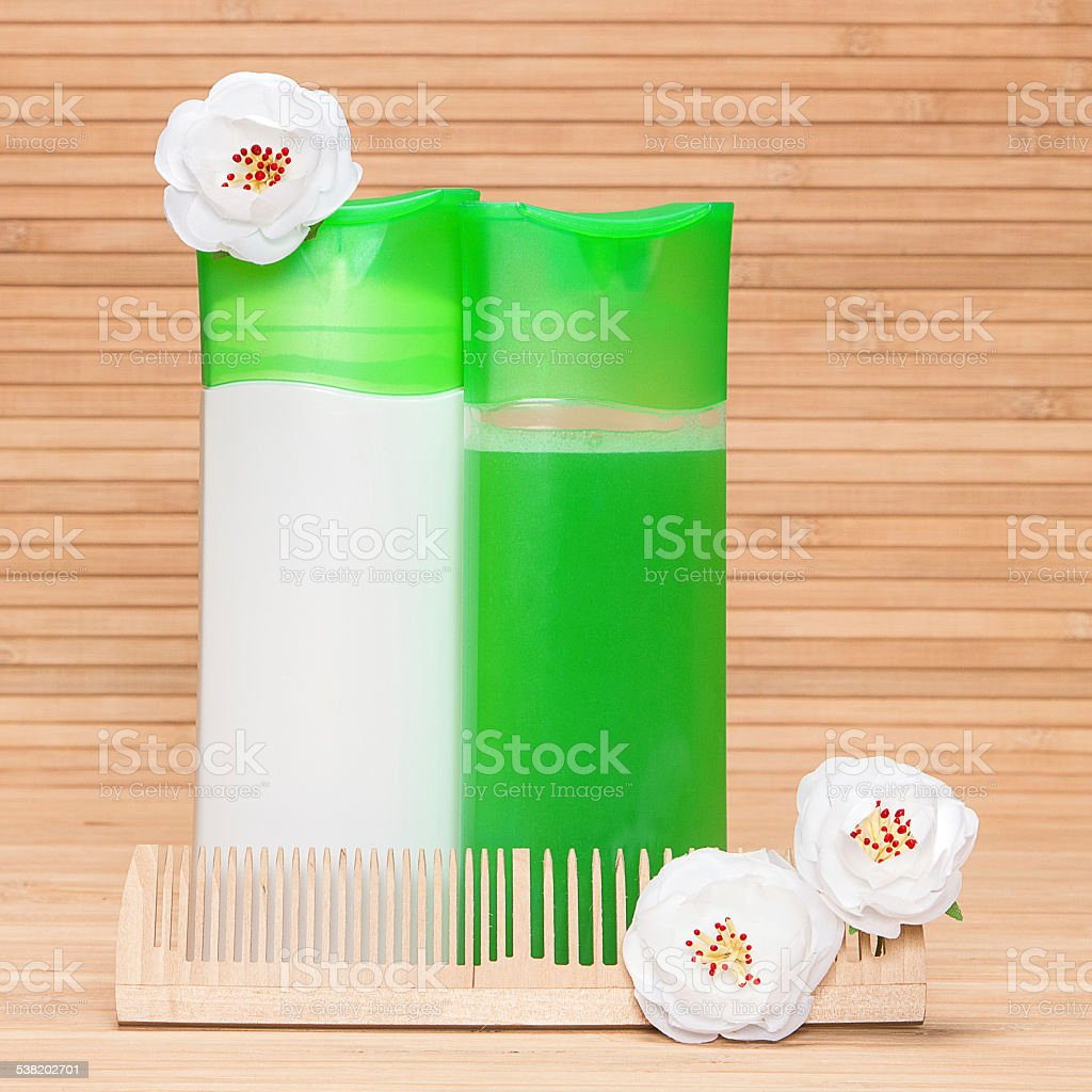 Natural shampoo and hair conditioner stock photo