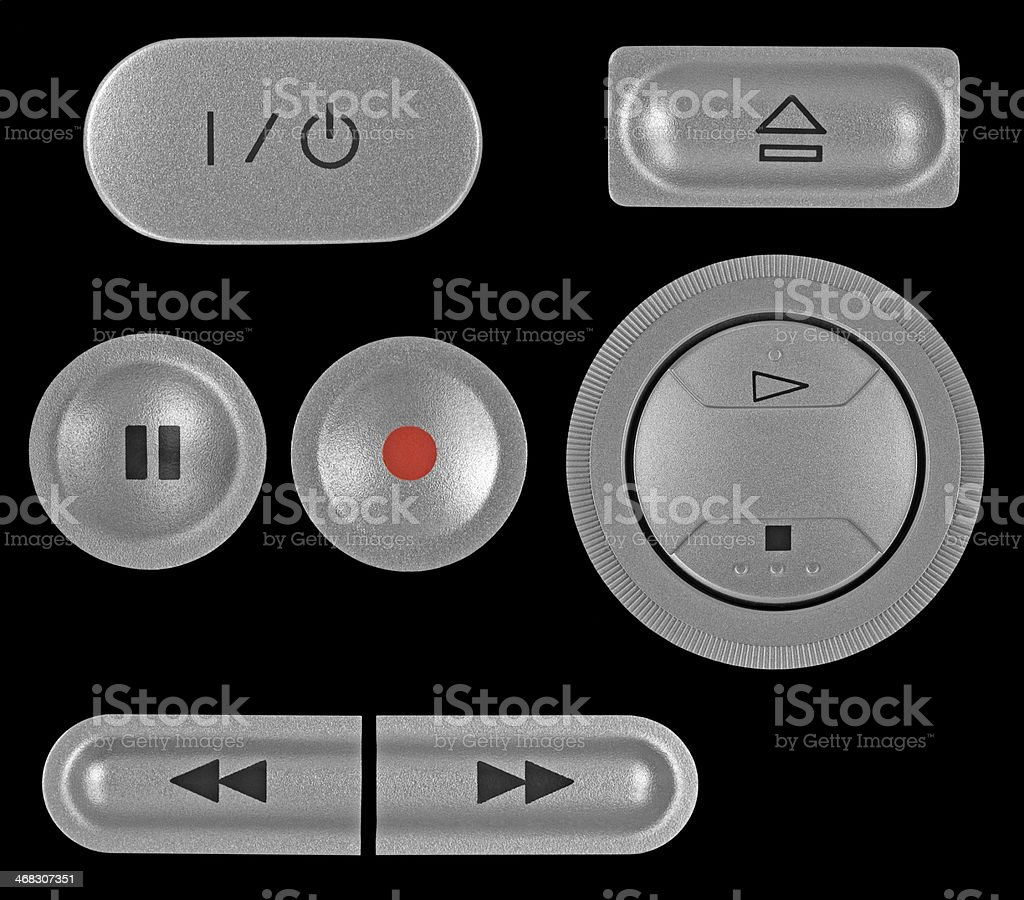 Natural silver grey metallic DVD recorder buttons set, isolated macro stock photo