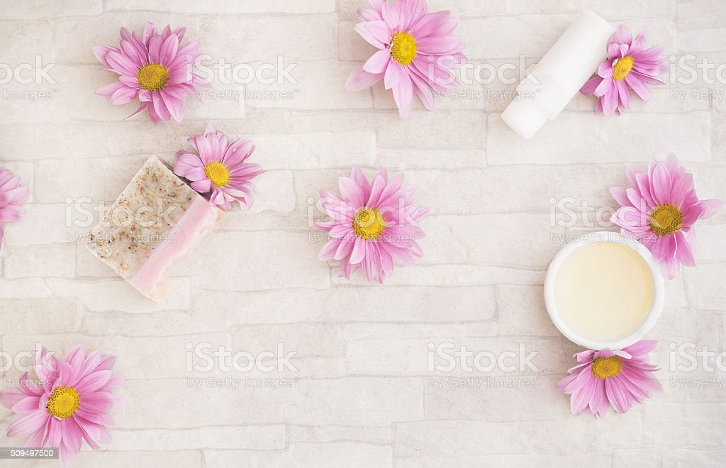 Natural skincare products and ingredients stock photo