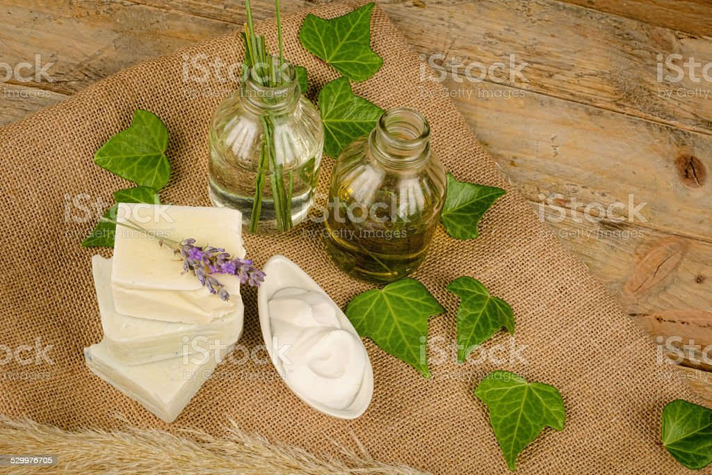 Natural soap and moisturizer stock photo