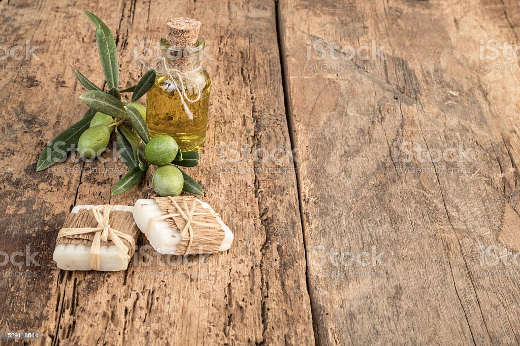 natural soap bars made by olive oil stock photo