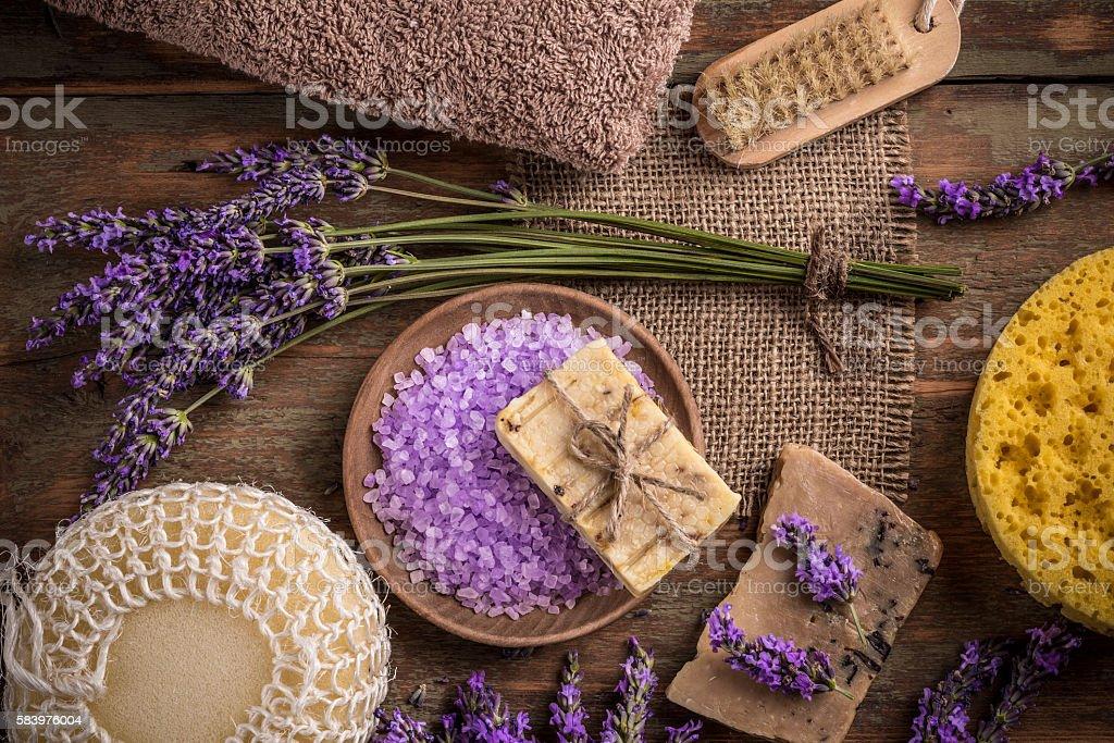Natural soap, lavender and salt stock photo