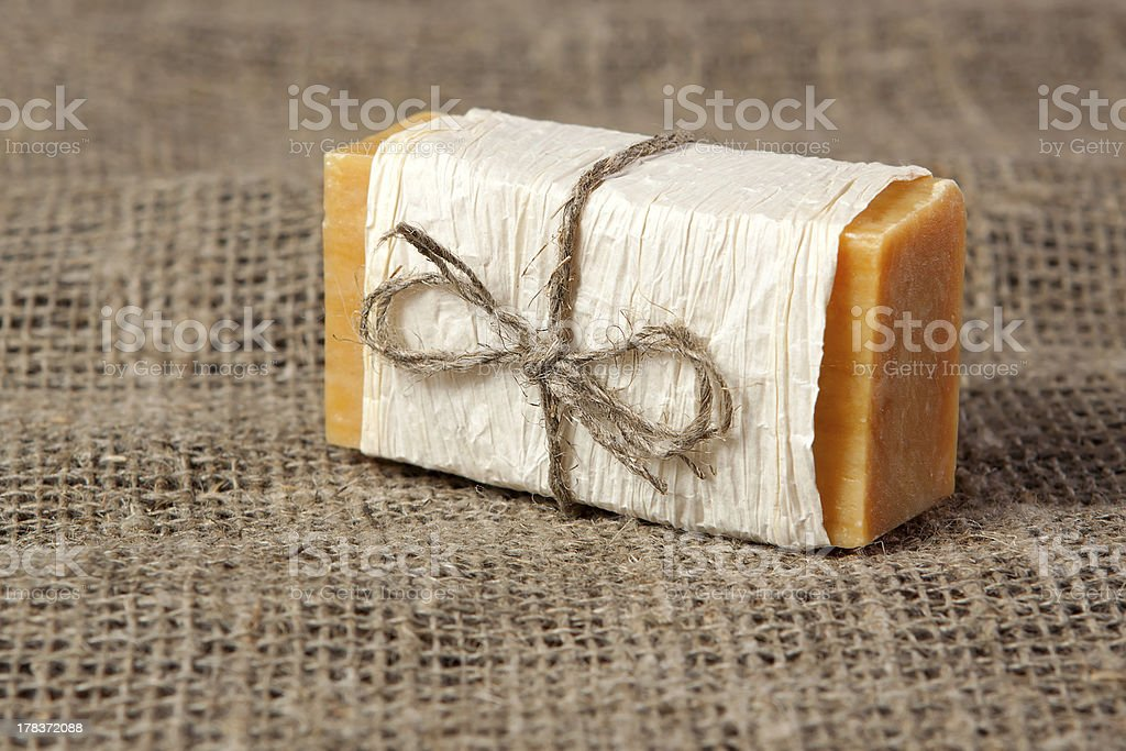 natural soap on the fabric royalty-free stock photo