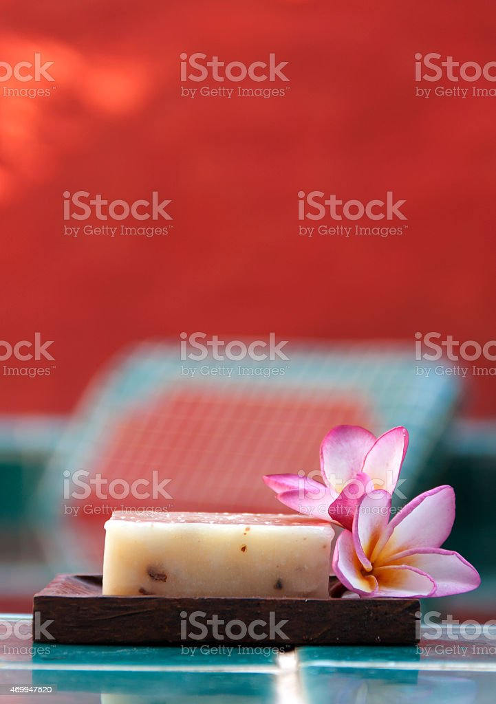 Natural soap with flower vertical royalty-free stock photo