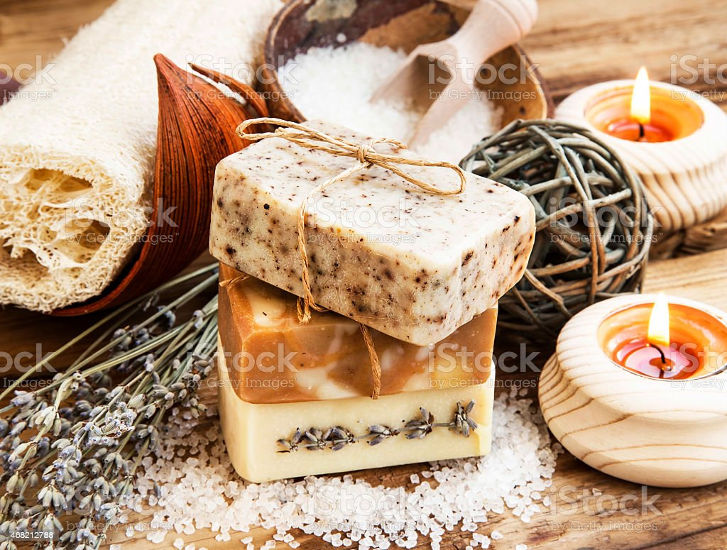 Natural Soap.Homemade Spa Setting with Bodycare Products stock photo