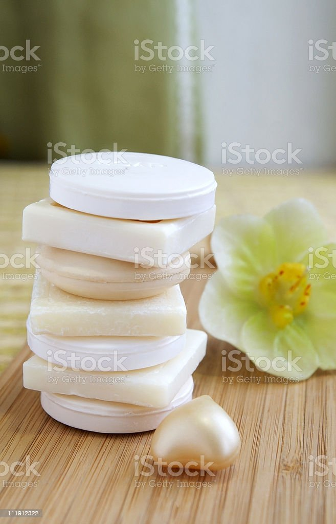 Natural soaps in a beauty shop or spa-salon stock photo