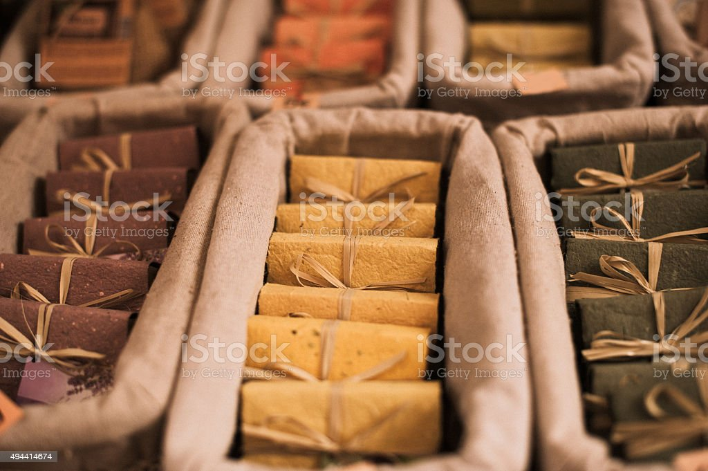 Natural soaps on the outdoors market stock photo