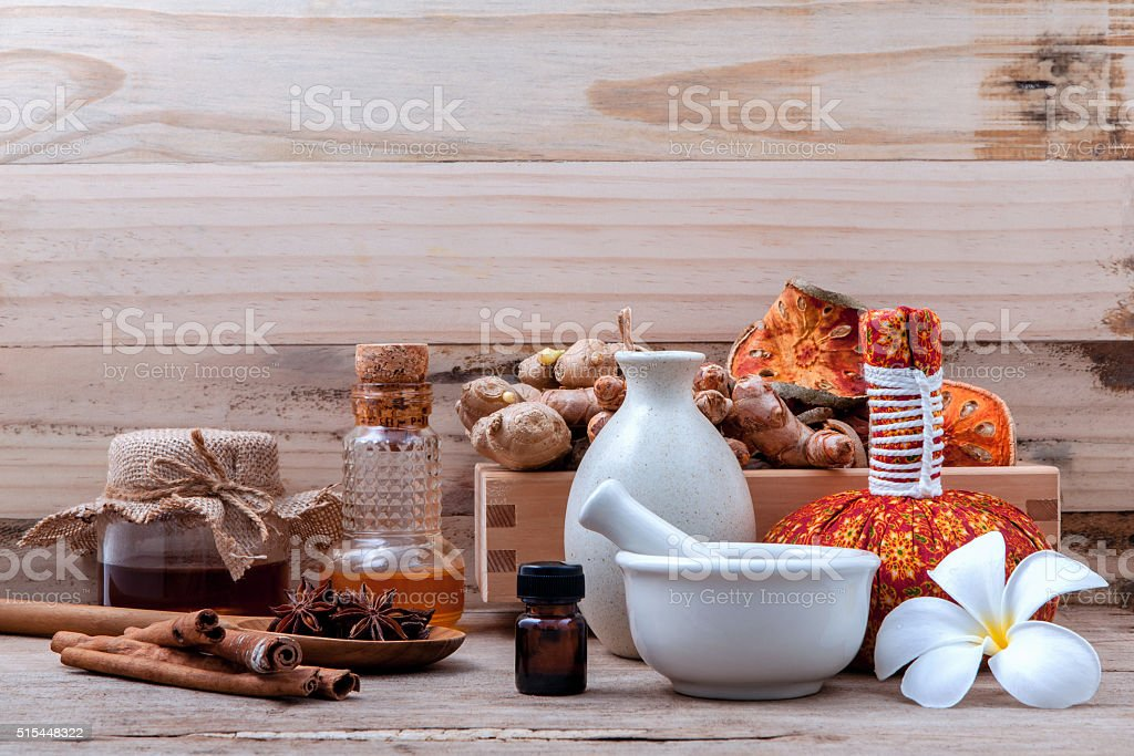 Natural Spa Ingredients herbal compress ball and herbal  . stock photo