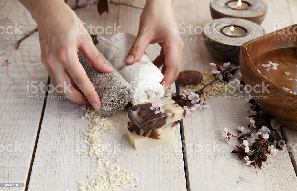 Natural spa manicure  setting royalty-free stock photo