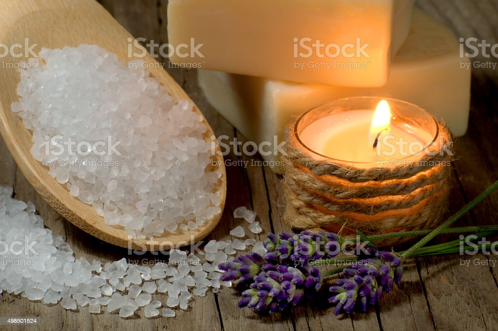 Natural spa setting with lavender and bath salt stock photo