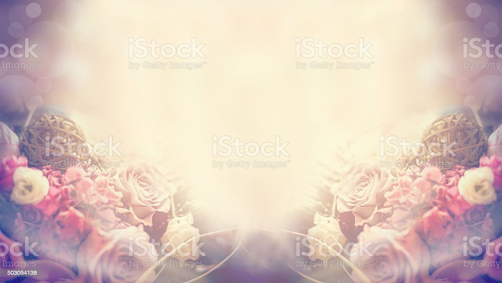 natural spring sunny blurred background flowers, roses leaves bokeh banner stock photo