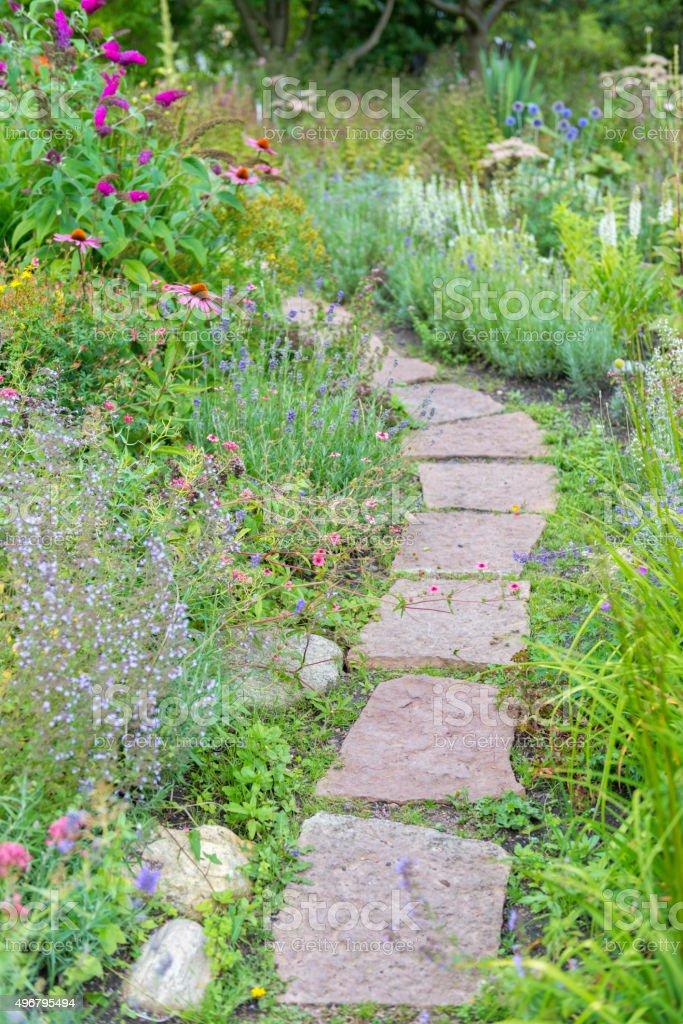Natural stone garden path stock photo