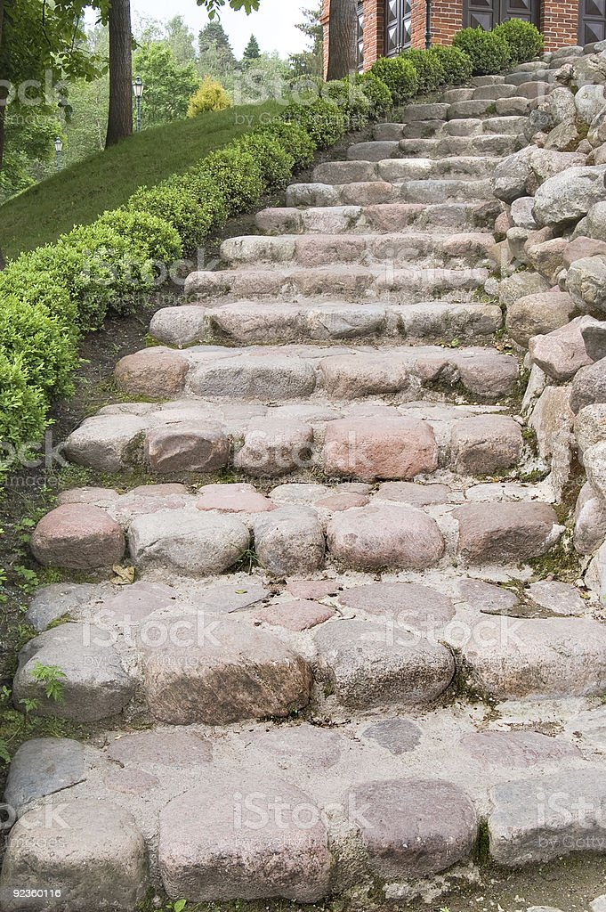 Natural stone steps along a hedgerow royalty-free stock photo