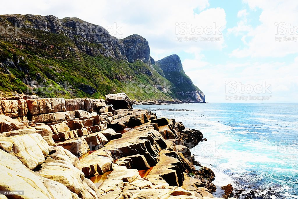 Natural stone steps leading to the ocean at Cape Point stock photo