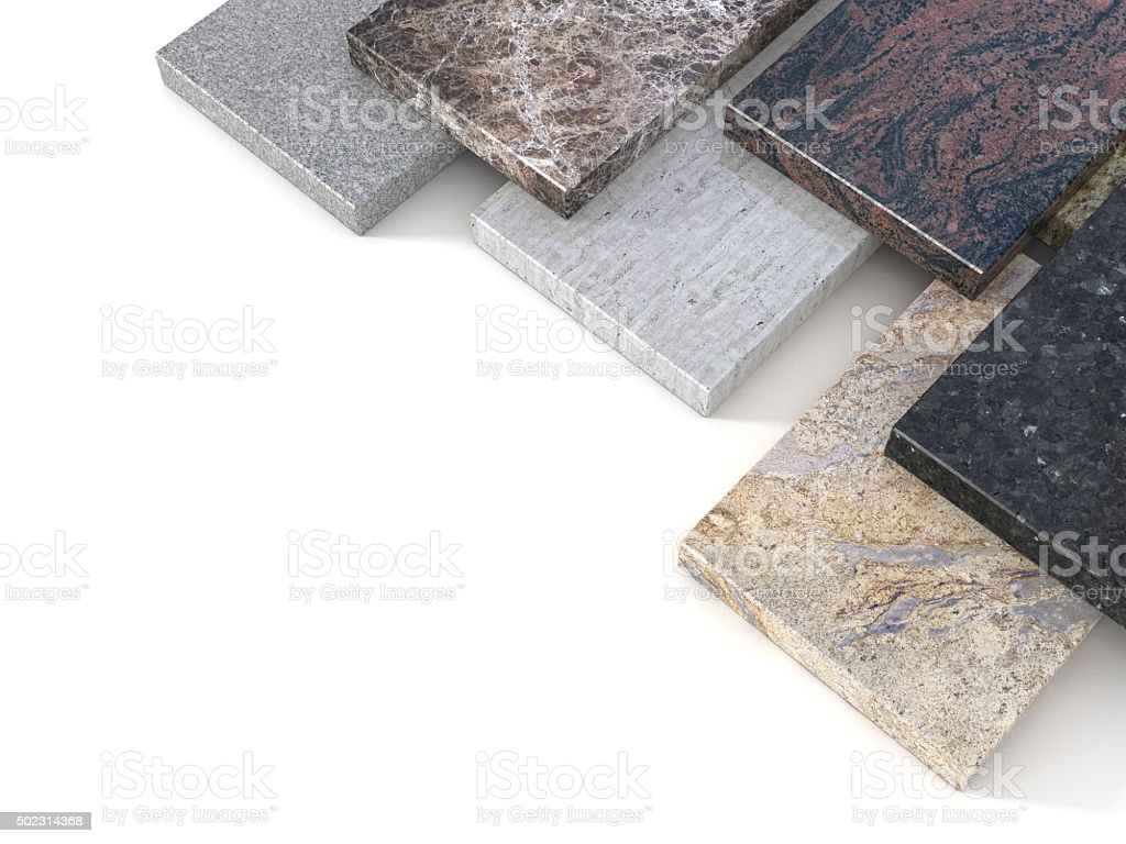 Natural stone tiles Marble granite samples set -clipping path stock photo