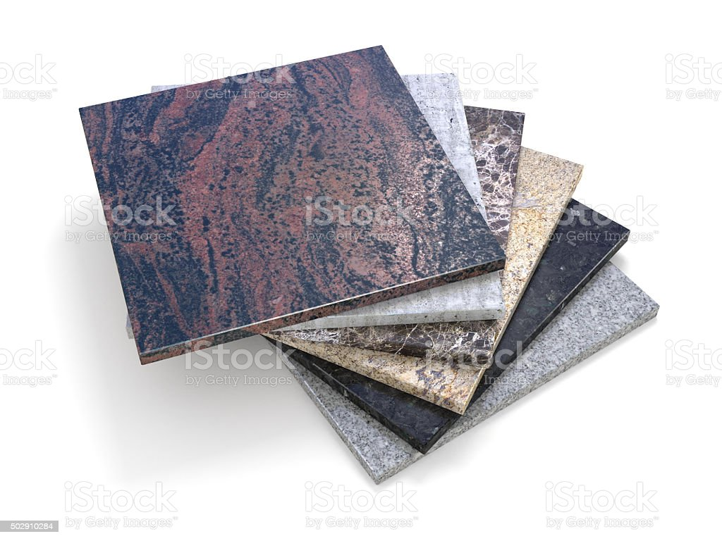Natural stone tiles Marble granite samples stack -clipping path stock photo
