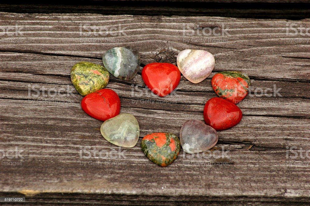 Natural stones in heart shape stock photo