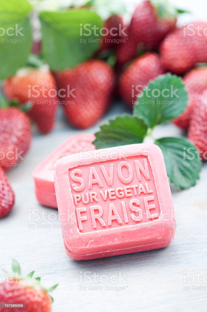 Natural strawberries soap royalty-free stock photo
