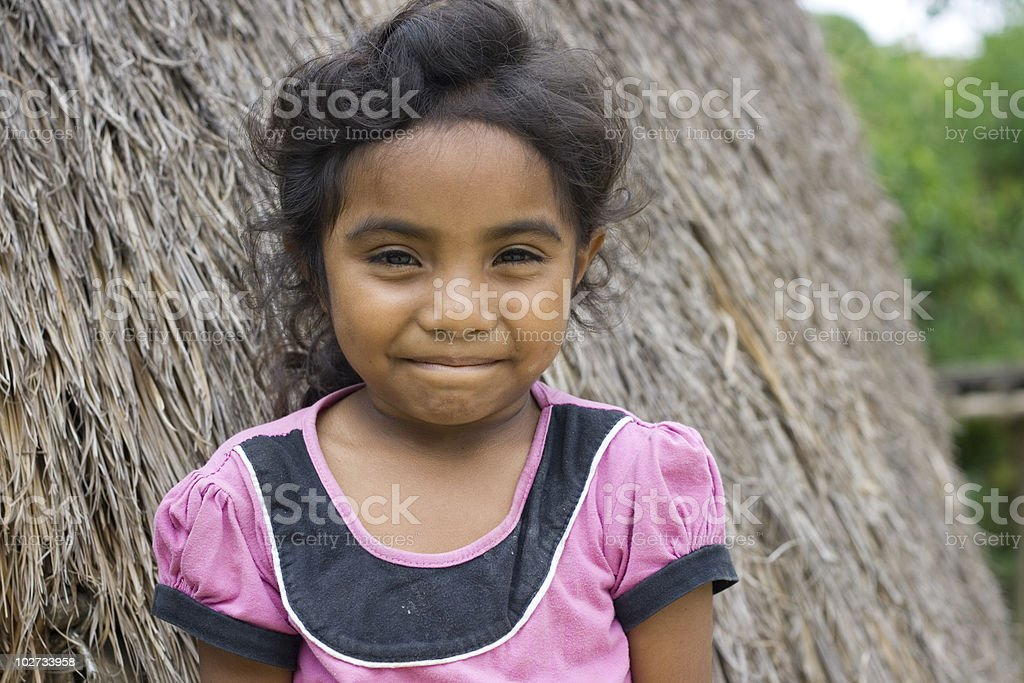 Natural striking face of a ethnic Timorese girl. stock photo