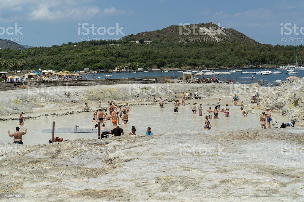 Natural sulfur mud beach on Vulcano Island stock photo