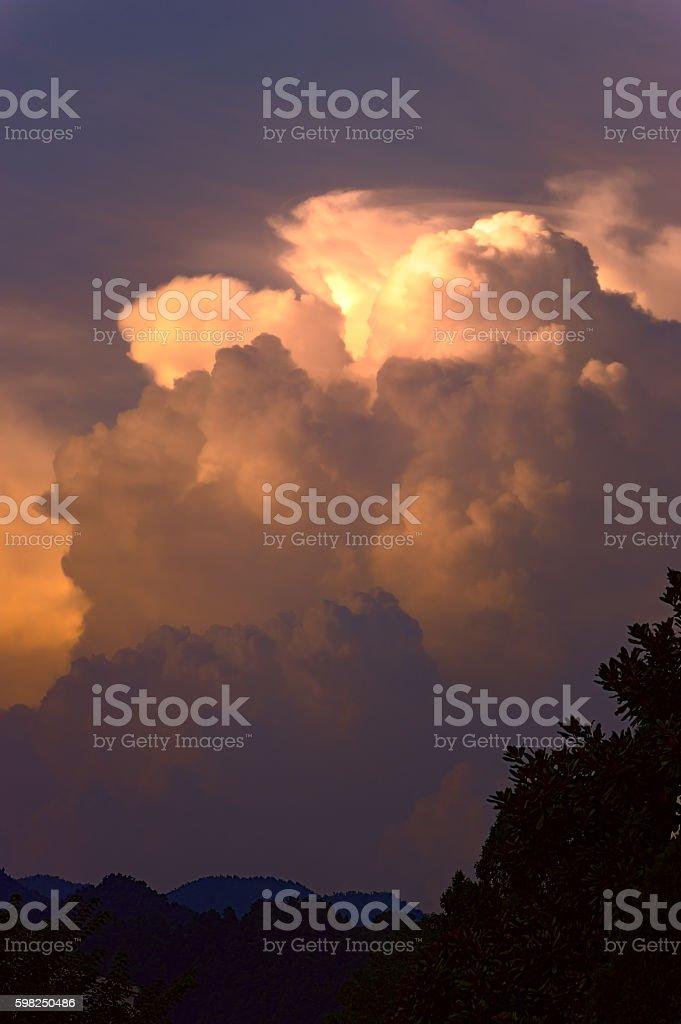 Natural sunset background stock photo