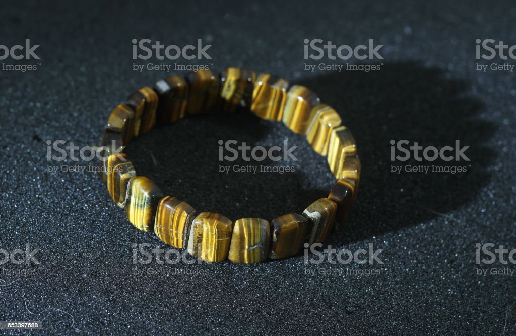 natural tiger eyes stone necklace stock photo