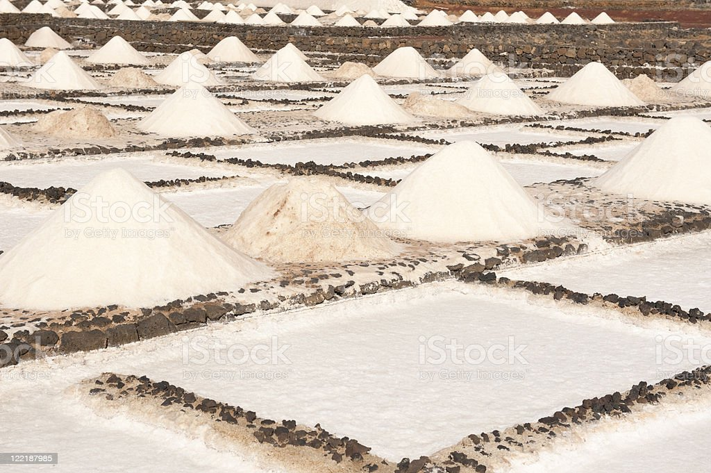 Natural traditional sea salt extraction by evaporation stock photo