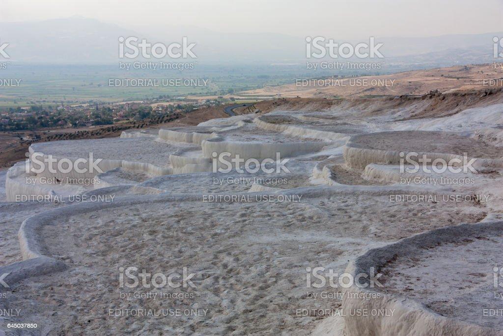 Natural travertine terraces of Pamukkale Turkey stock photo