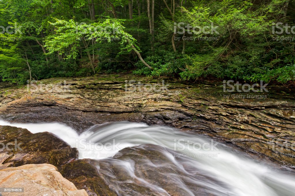 Natural Water Slide at Meadow Run stock photo