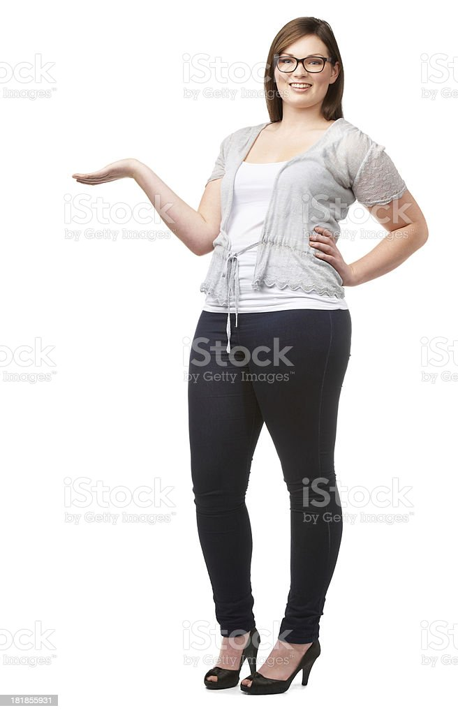 Natural woman endorsing your product royalty-free stock photo