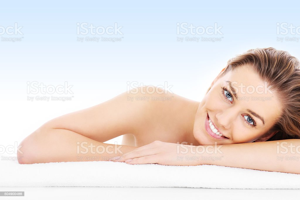 Natural woman over blue stock photo