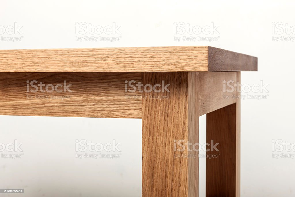 natural wood table(desk) corner. stock photo